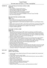 Inventory Control Clerk Resume Samples Velvet Jobs