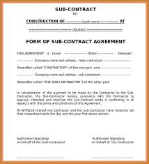 Subcontractor Agreement Format Construction Subcontractor Agreement Template Template 1 Resume