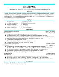 Service Tech Resume Computer Technician Resumes Yun56co Computer Technician Resume