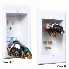 in wall power connection kit with single power and cable management for wall mounted hdtv