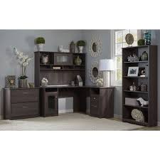 cabot l shaped desk with hutch lateral file cabinet and 5 shelf bookcase