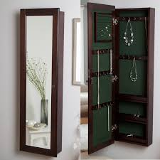 mirror jewelry organizer. wall-mounted locking wooden jewelry armoire - 14.5w x 50h in. | hayneedle mirror organizer l
