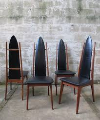 SET OF MID CENTURY WALNUT HIGH BACK DINING CHAIRS AFTER PEARSALL ...