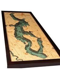 Nautical Wood Charts Woodcharts Lake Washington Bathymetric 3 D Wood Carved Nautical Chart