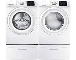 samsung front load washer pedestal. Exellent Washer Samsung Appliance White Front Load Laundry Pair With WF42H5000AW 27u0026quot  Washer DV42H5000EW Intended Washer Pedestal W
