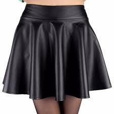 women high waist faux leather mini skirt above knee solid color flared pleated short women skirt new