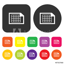 Graph Paper Icon Engineering Symbol Round And Rectangle Colour