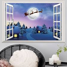>wall stickers 48 5 72cm window snowy christmas night village 3d   window snowy christmas night village 3d wall art sticker colormix 48 5 72cm