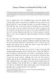 "sample academic writing essay dangers of computer screen dependence in today s world sample essay "" technology is making"