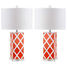 Set Of Two Table Lamps Details About Safavieh Lighting 27 Inch Orange Garden Lattice