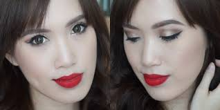 pics of red lip makeup tutorial asian