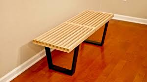 diy mid century modern slatted bench woodworking