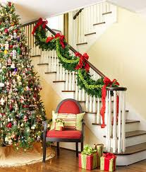 Adorable Custom Theme Stairs Wreath And Tree Christmas Decorating Ideas