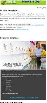 newsletter featured employer examples jobmonkey com featured employer example 2 screenshot