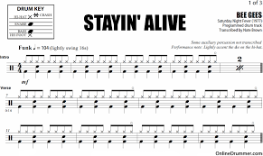 drum set sheet music stayin alive bee gees drum sheet music onlinedrummer com
