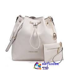 Leather White Michael Kors Jules Drawstring Medium Shoulder Bags