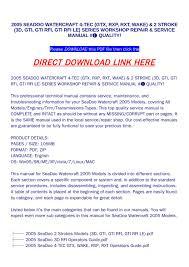 2005 Seadoo Maintenance Light Reset 2005 Seadoo Watercraft 4 Tec Gtx Rxp Rxt Wake 2
