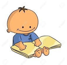 cartoon small sitting baby reading book vector stock vector 17570396