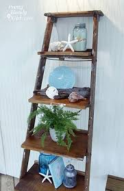 How to build ladder shelves DIY by Brittany Pretty Handy Girl via  Centsational Girl