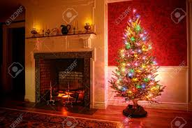 Christmas Tree With Vintage Multi Color Lights In An Old Fashioned ...