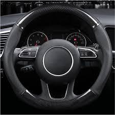 38cm <b>Carbon Fiber Leather</b> Stitching <b>Car</b> Steering Wheel Covers ...