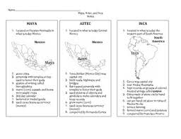 Maya Aztec And Inca Test Worksheets Teaching Resources Tpt