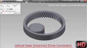 Internal Gear Design Helical Gear Internal Drive Constrain Autodesk Inventor With Caption And Audio Narration