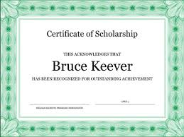 Scholarship Certificate Template Certificates Office Com