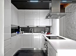 modern white and black kitchen. White And Black Kitchen Design. High Gloss White Cabinets; Ceiling,  Backsplash Modern