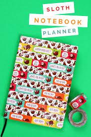 diy sloth notebook planner