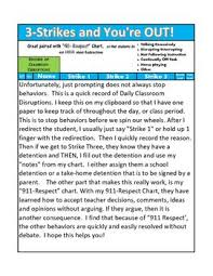 3 Strikes You Re Out Behavior Chart 3 Strikes And Youre Out For Classroom Disruptions