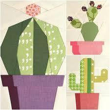 Cactus Trio Quilt Block Patterns   Cacti, Patterns and Paper piecing & Cactus Trio Quilt Block Patterns Adamdwight.com