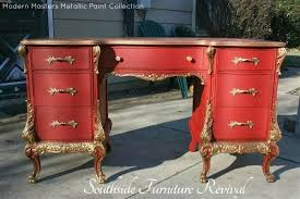 diy metallic furniture. a beautiful red desk with detail work accented in modern masters pale gold metallic paint diy furniture