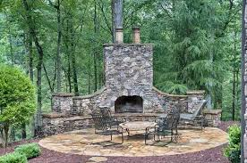 rustic outdoor patio fireplace