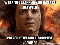 when you learn the difference between prescriptive and descriptive ... via Relatably.com