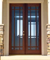 Large Single Custom Wood Exterior Doors With Narrow Glass