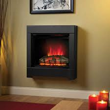 black wood and leather frame wall mount square electric fireplace on beige walls with brown laminate hardwood flooring red electric small size area rug dark