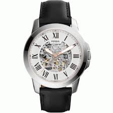 fossil me3101 automatic townsman black leather watch for men