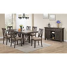 kings brand lynn 8 piece brown wood rectangle dinette dining room table 6 side chairs