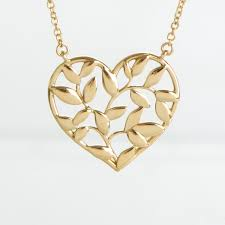 tiffany 18k yellow gold paloma picasso olive leaf heart pendant necklace 172147