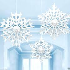 3 large snowflake ceiling paper fans hanging decoration frozen party decorations diy