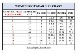 Foot Size Chart Size Chart Chapter 13