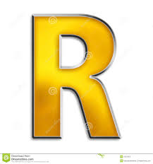 Isolated Letter R In Shiny Gold Stock Illustration