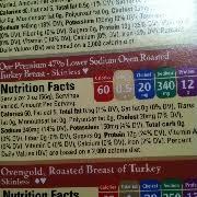 user added boars head low sodium turkey nutrition
