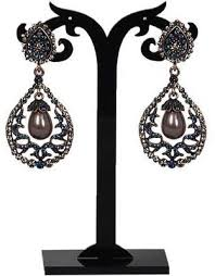 glanz blue tone with grey pearl vintage chandelier earring