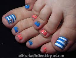 blue nail art toe nail art cool striped design blue white pink ...