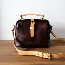 mini doctor handmade leather bag small retro dark brown shoulder bag three leather handbags totes i