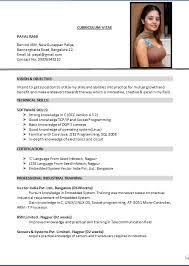 Curriculum Vitae Format Pdf India Lezincdc Com