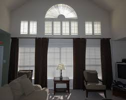 Dark Ton Curtain On Wide Window Combined With White Venetian Blind.  Charming Curtain Ideas For Large Windows Covered. Curtains Ideas For Large  Windows. ...
