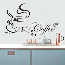 word wall art visit to coffee cup with heart vinyl e restaurant kitchen wall stickers home decor wall art mural cappuccino diy canvas word wall
